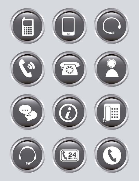 Movile icons over gray background vector illustration Premium Vector