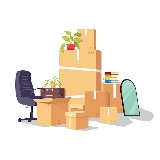 仕事、仕事、昇進、キャリア開発、解雇を変える理由で動く。あるオフィスから別のオフィスへの移転。配送用梱包材の作業用品と機器。白の漫画。 Premiumベクター