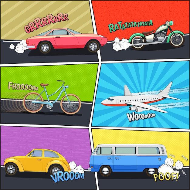 Moving car bicycle motorcycle van and airplane in comic frames Free Vector