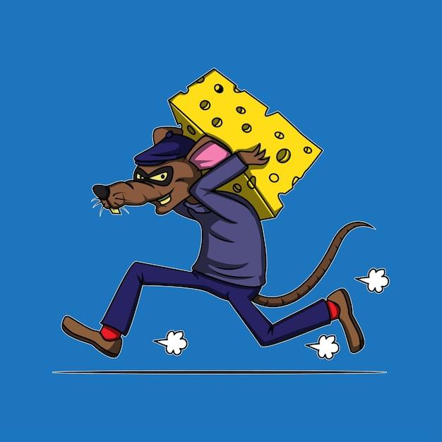 Движущийся грабитель сырной крысы Premium векторы