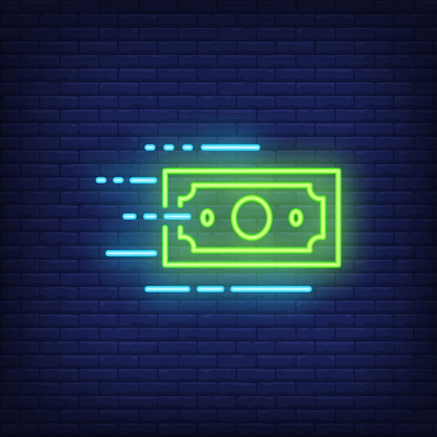 Moving dollar bill neon sign Free Vector