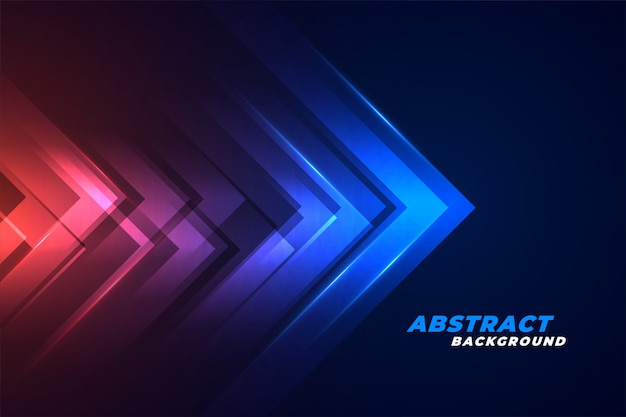Moving forward arrows in glowing red and blue lights background Free Vector