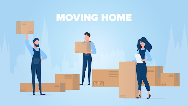 Moving home banner. moving home to a new place. movers carry boxes. carton boxes. the concept of transportation and delivery of goods. . Premium Vector