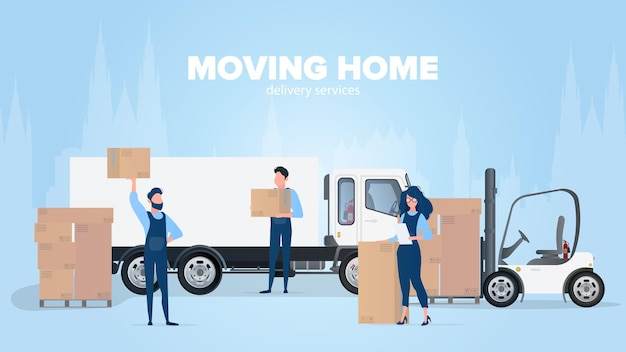 Moving home banner. moving to a new place. white truck Premium Vector