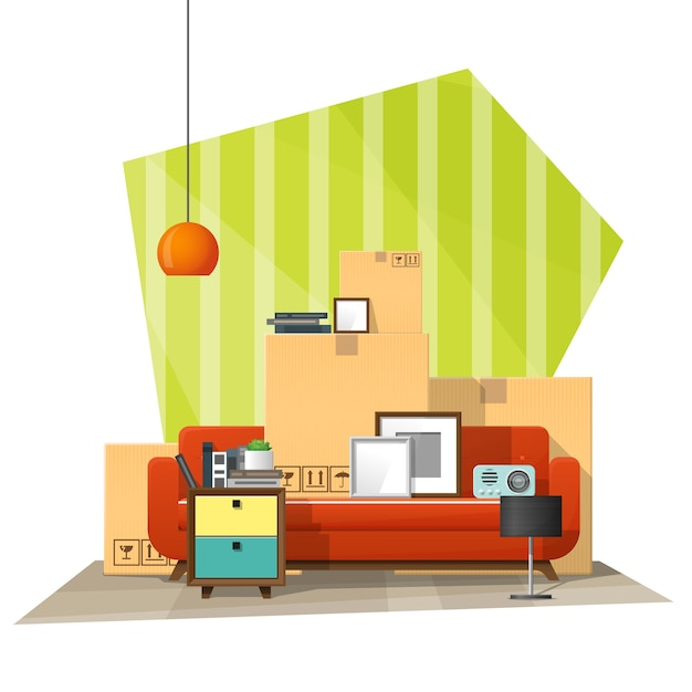 Moving home concept background Premium Vector