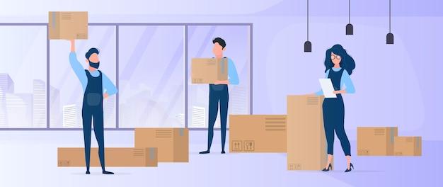 家に帰る。新しい場所へのオフィスの移転。引っ越し業者は箱を運びます。商品の輸送と配達の概念。 Premiumベクター