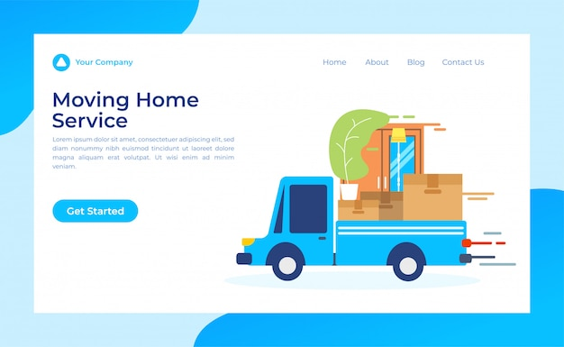 Moving home service landing page Premium Vector