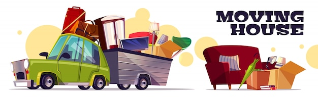 Moving house concept with car carrying filled cardboard boxes, baggage, tv and furniture Free Vector