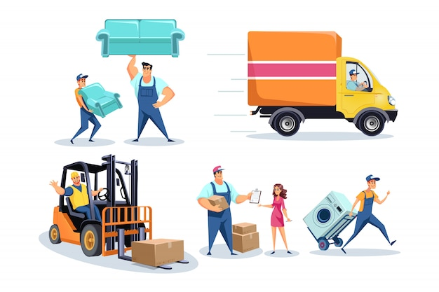 Moving house, furniture delivery workers, people relocating stuff concept Premium Vector