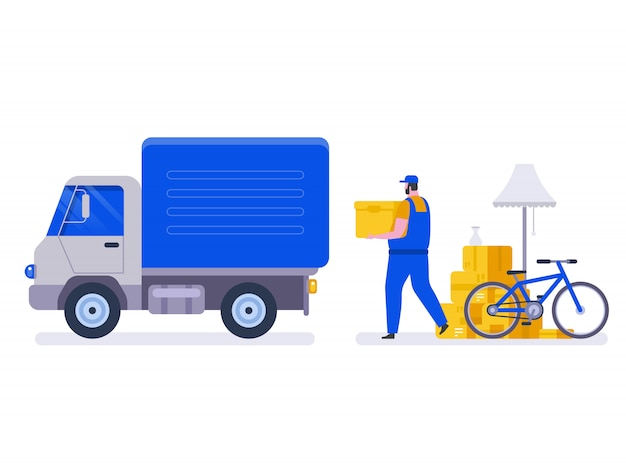 Moving house service. Premium Vector