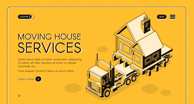 Moving house works online service isometric web banner Free Vector