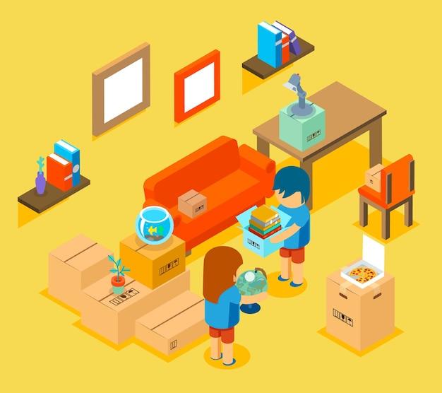 새 아파트로 이사. 아이소 메트릭 3d. 편안한 소파, 테이블과 의자, 물건 무료 벡터