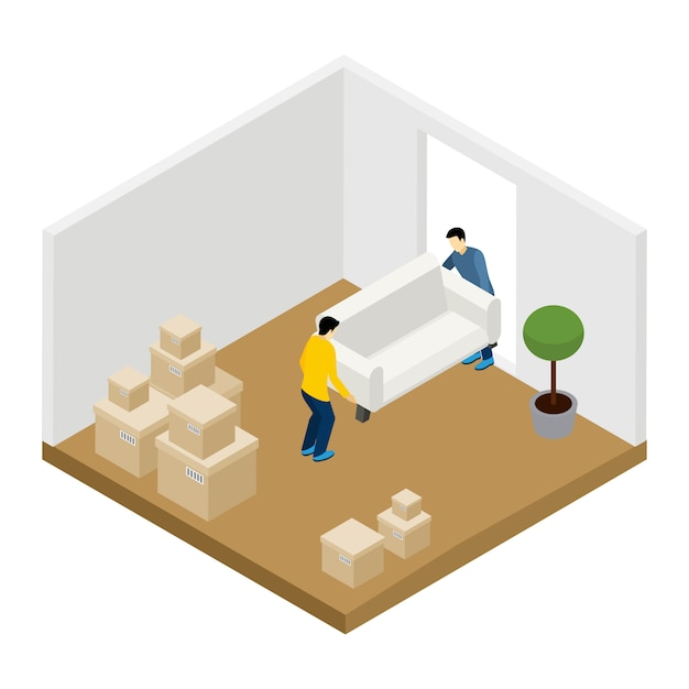 Moving in and out illustration Free Vector