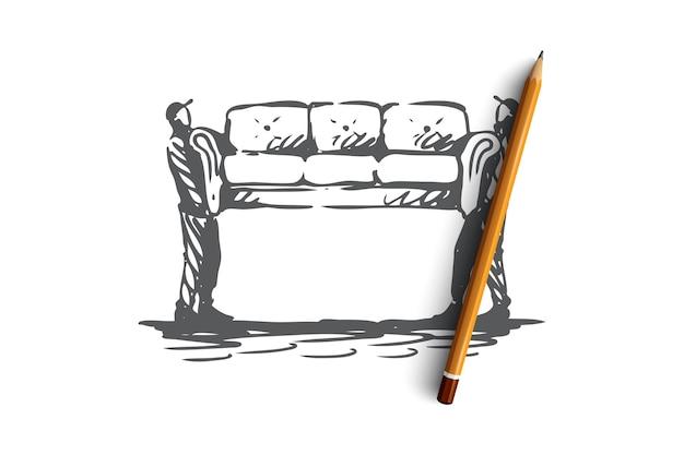 이동, 소파, 가구, 배달, 운송 개념. 손으로 그린 소파 개념 스케치를 이동하는 두 사람. 삽화. 프리미엄 벡터