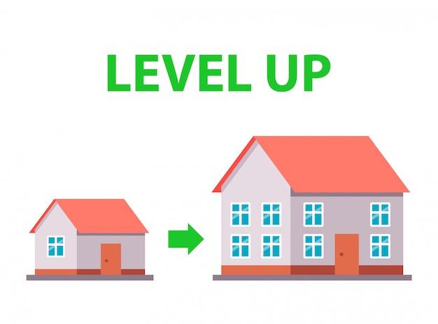 새 집으로 이사. 주택 조건 개선. 삽화. 프리미엄 벡터