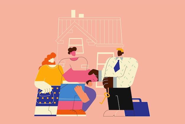 새 집으로 이사, 아파트 구매 또는 임대. 새 집의 열쇠를주는 남자 부동산 에이전트. 프리미엄 벡터