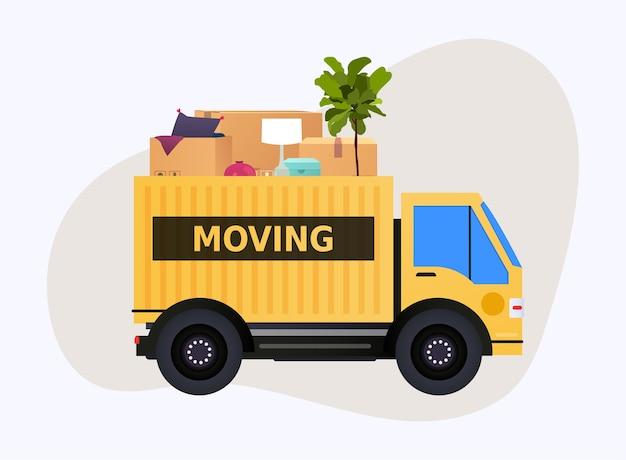이동 트럭 및 판지 상자. 이사. 운송 회사. 프리미엄 벡터