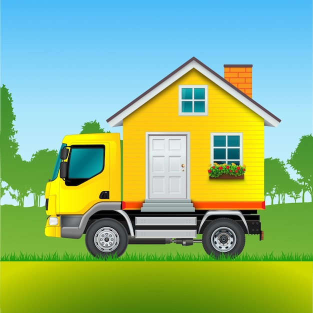 Moving truck background Free Vector