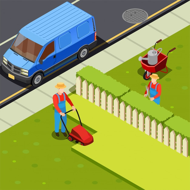 Mowing lawn isometric composition Free Vector