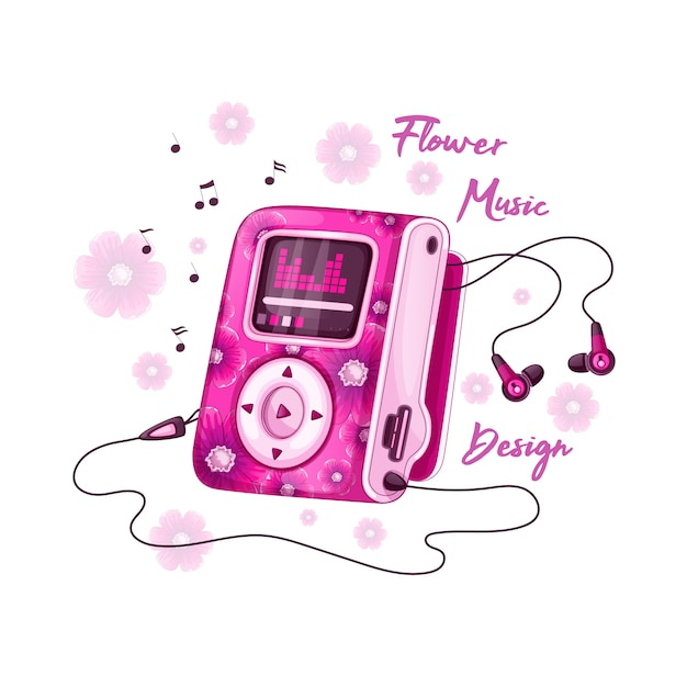 Mp3 player for music with bright pink floral design and headphones. Premium Vector