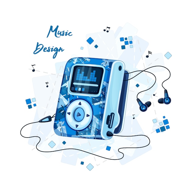 Mp3 player with a stylish geometric pattern and headphones Premium Vector