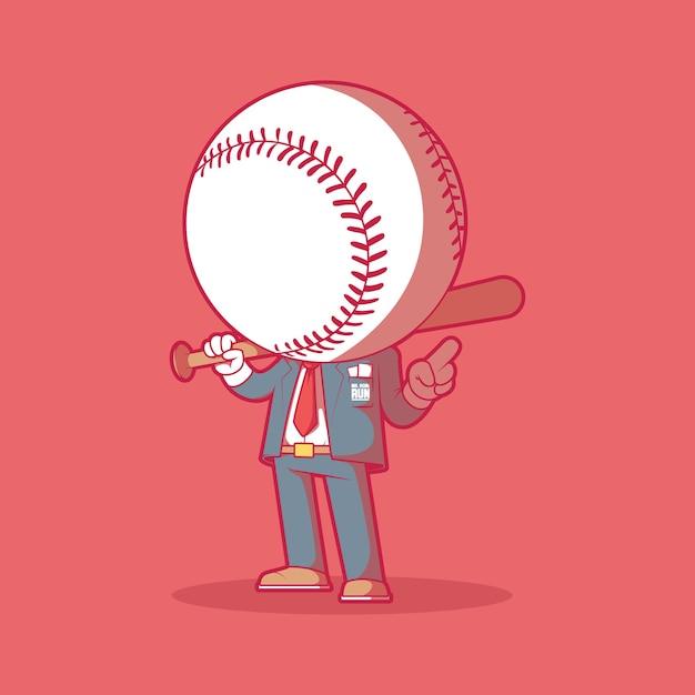 ホームランさんのイラスト。野球、スポーツ、マスコットのデザインコンセプト。 Premiumベクター