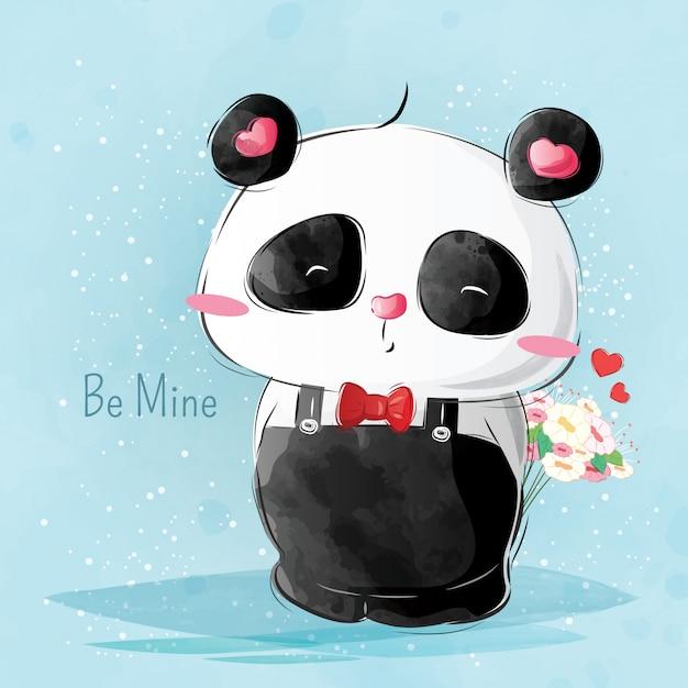 Mr pando brings flower Premium Vector