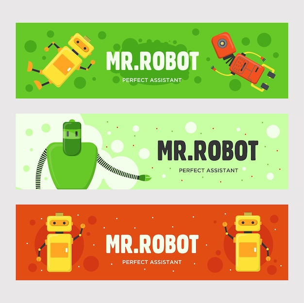 ロボットさんのバナーセット。ヒューマノイド、サイボーグ、スマートマシンは、緑と赤の背景にテキストでイラストをベクトルします。チラシやパンフレットのデザインのためのロボット工学の概念 無料ベクター