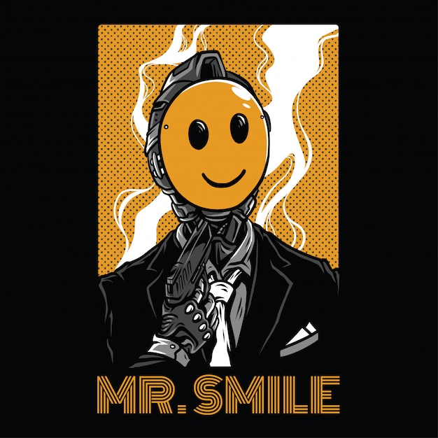 Mr smile illustration Premiumベクター