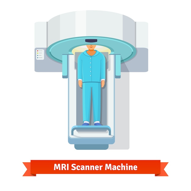 Mri, magnetic resonance imaging scanning patient Free Vector
