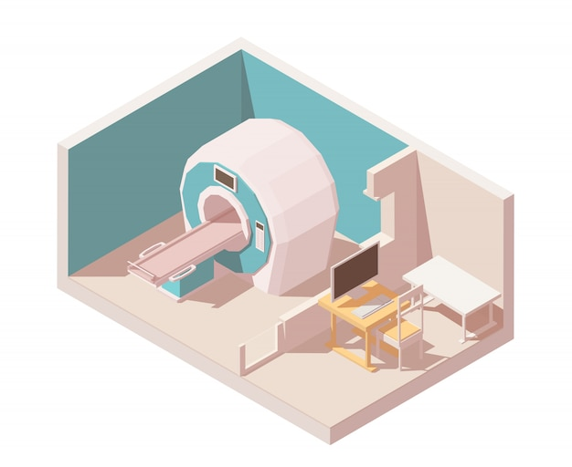Mri room. includes mri scanner and doctors observation room with table pc. Premium Vector