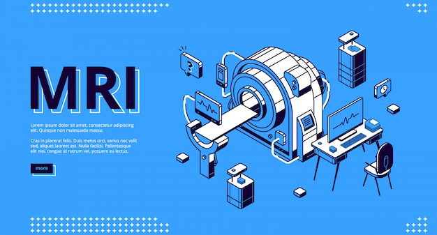 Mri scanner with patient and doctor web Free Vector