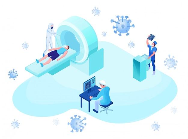 Mri scanning of 2019-ncov coronavirus patient Premium Vector
