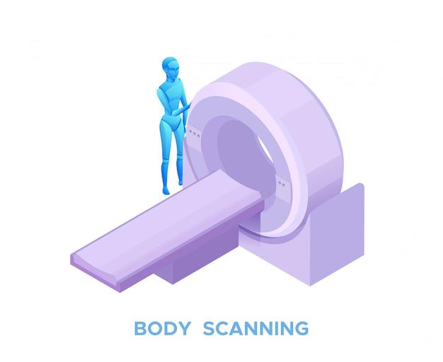 Mri scanning in healthcare system Premium Vector