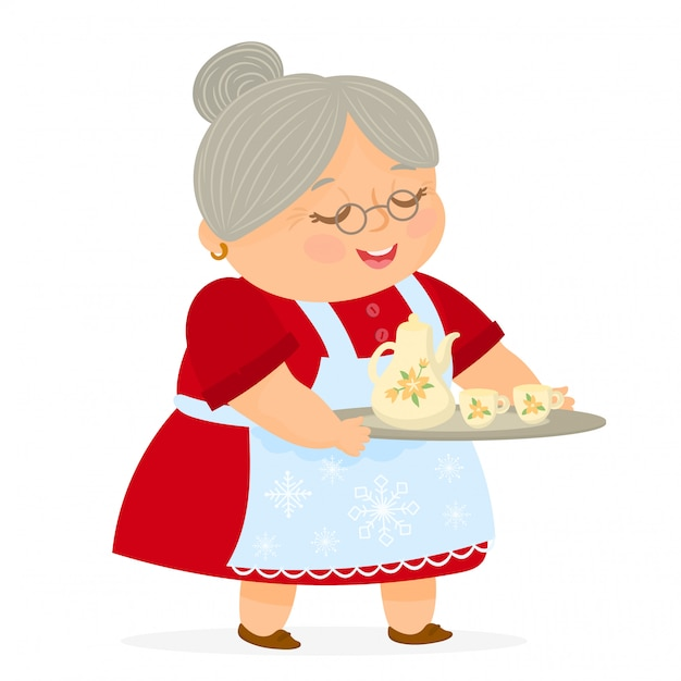 Mrs claus holding a tray with jug and cups of tea Premium Vector