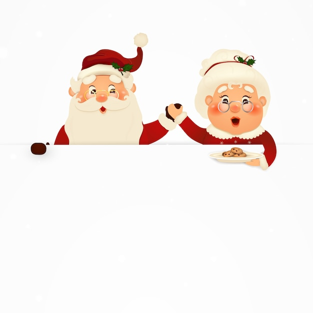 Mrs. claus together.  cartoon character of happy santa claus and his wife with signboard, advertisement banner. cute santa claus and mrs. claus with cookies and white copy space, falling snow. Premium Vector