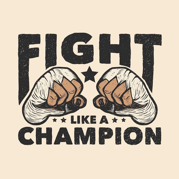 Muay thai boxing fists illustration Premium Vector