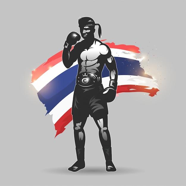 Muay thai fighter Premium Vector
