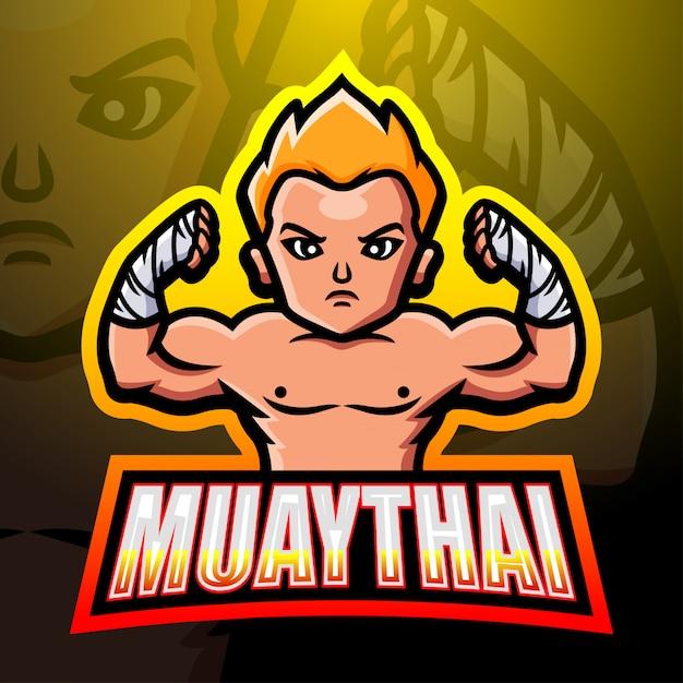 Muaythai mascot esport logo design Premium Vector