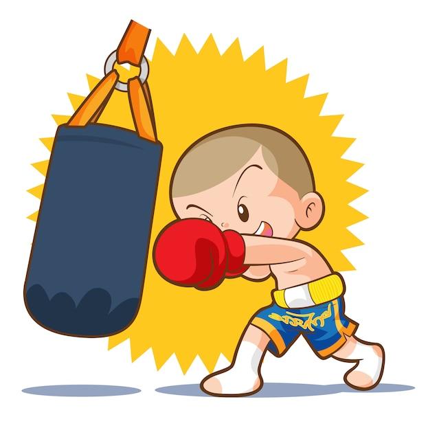 Muaythai Sandbag Boxing Hit Premium Vector