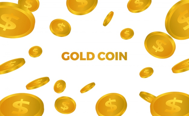 Much 3d golden money drops falling illustration Premium Vector
