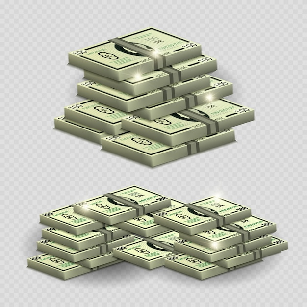 Much money with shining elements - realistic money on transarent background Premium Vector