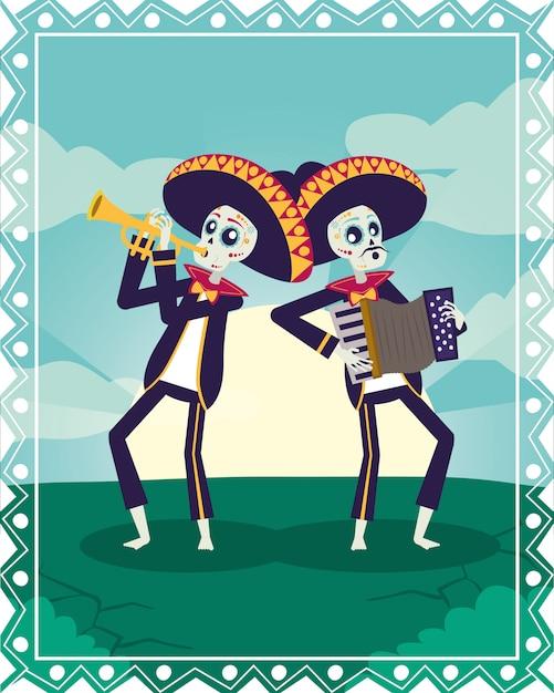 Диа-де-лос-muertos карта с черепами мариачи, играя на трубе и аккордеоне Premium векторы