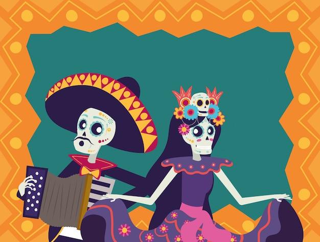Диа-де-лос-muertos карта с мариачи, играя на аккордеоне и катрине Premium векторы