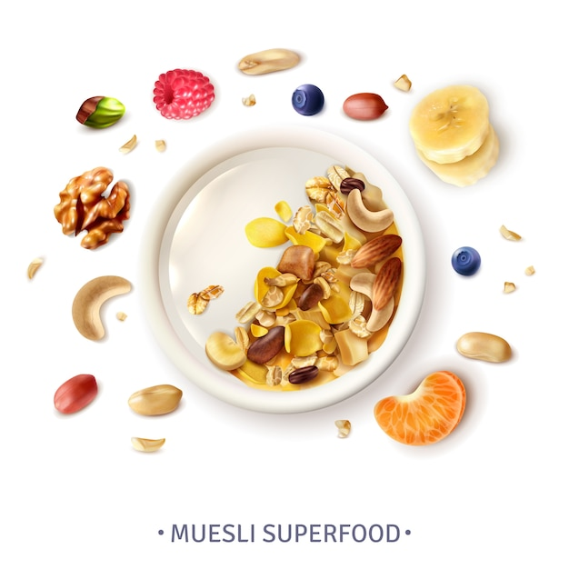 Muesli healthy super food bowl top view realistic composition with grains banana slices nuts berries Free Vector