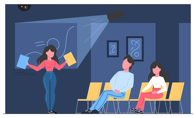 Mueum room interior with exhibition and visitors. people in the museum listening to guide. modern artwork exhibit. Premium Vector