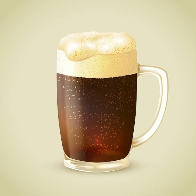 Mug of dark beer illustration Free Vector