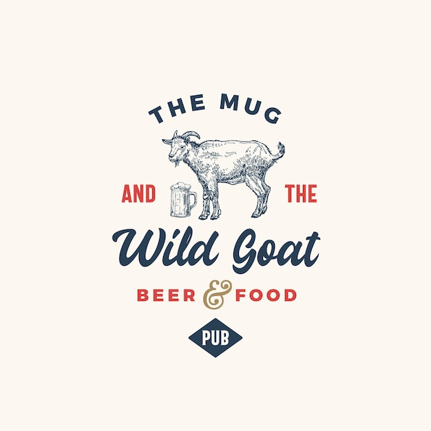 The mug and goat pub or bar abstract  sign, symbol or logo template. Free Vector