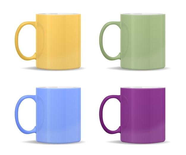 さまざまな色のマグカップ:黄色、緑、青、紫 無料ベクター