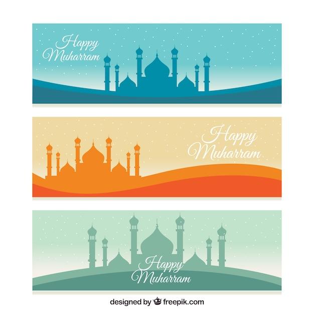 Muharram banner collection Free Vector
